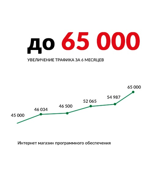 Кейс по интернет магазину программного обеспечения — рост трафика с 45 000 до 65 000 посетителей в месяц за полгода